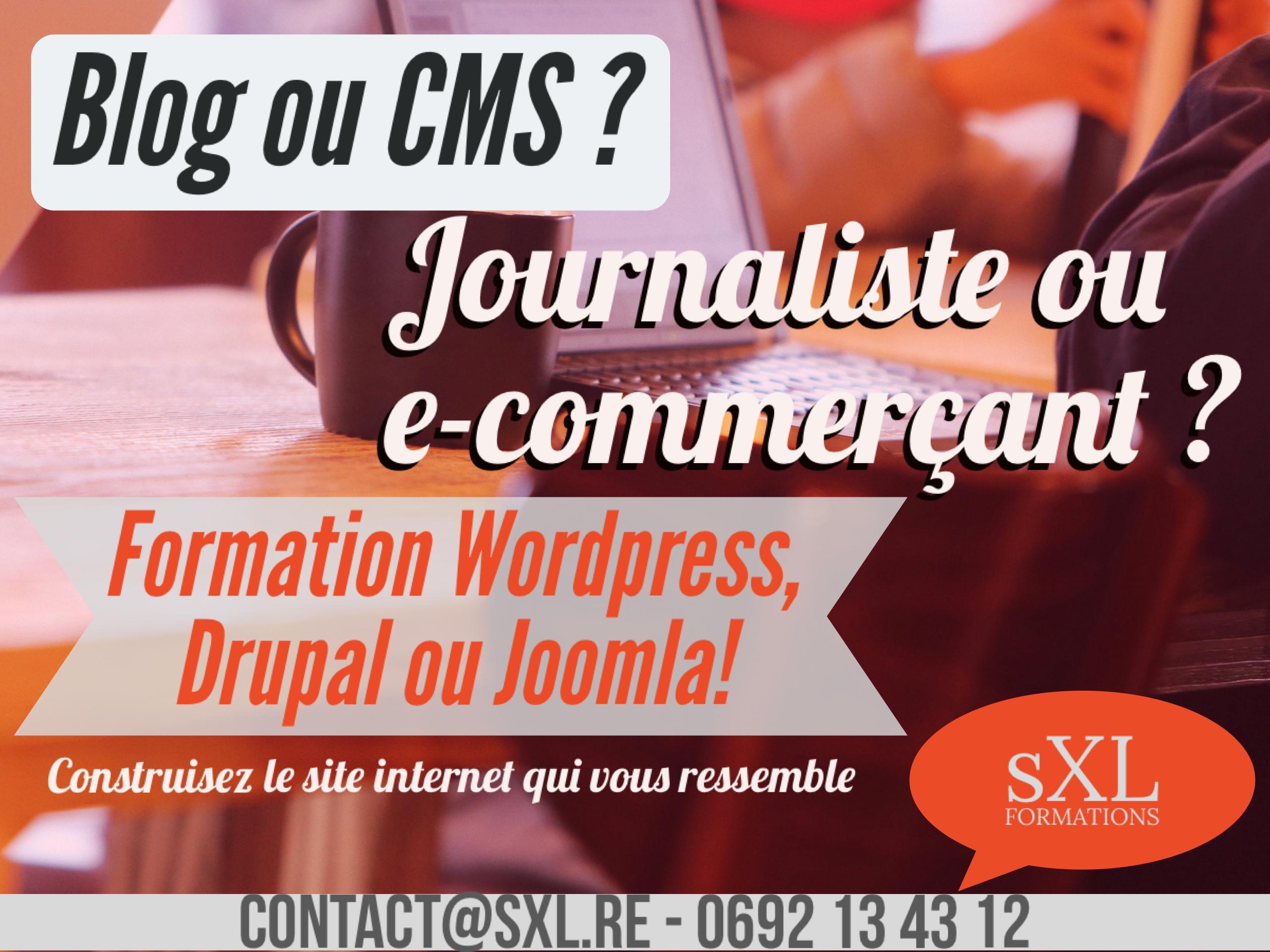 Formation wordpress, joomla! ou drupal Ile de La Réunion